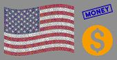 Dollar Coin Symbols Are Combined Into Usa Flag Abstraction With Blue Rectangle Rubber Stamp Seal Of  poster