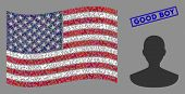 Person Pictograms Are Organized Into American Flag Collage With Blue Rectangle Grunge Stamp Seal Of  poster