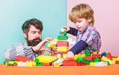 Enjoying Time Together. Building Home With Colorful Constructor. Happy Family Leisure. Small Boy Wit poster