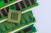 Processor Cpu And Ram Memory Modules In Isolated On White Background poster