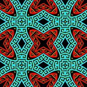 Greek Ornamental Colorful Vector Seamless Pattern. Abstract Ethnic Style Background. Repeat Decorati poster