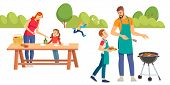 Happy Family At A Picnic Is Preparing A Barbecue Grill Outdoors. Family Picnic. Bbq Party. Food And  poster
