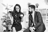 Flirting Colleagues. Bearded Man And Attractive Woman. Man And Woman Conversation During Lunch Time. poster