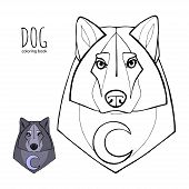 Wolf In Tribal Style With Moon.detail Wolf For Coloring Page, Tattoo, Shirt Design Effect And Logo.  poster
