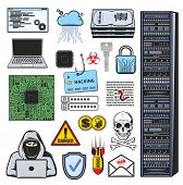 Vector Icons Of Computer Hacker, Account Login, Password And Credit Card Data Phishing, Ddos Attack  poster