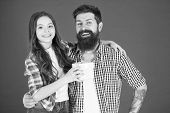 Friendly Relations. Father Hipster And His Daughter. Gift Surprise. Happy Fathers Day. Man Bearded F poster