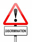 picture of racial discrimination  - Illustration depicting a red and white triangular warning sign with a  - JPG