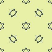 Blue Star Of David Icon Isolated Seamless Pattern On Yellow Background. Jewish Religion Symbol. Symb poster