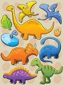stock photo of pterodactyl  - cartoon illustration of various cute baby dinosaurs - JPG