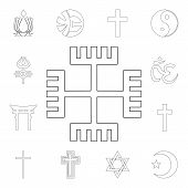 Religion Symbol, Gnosticism Outline Icon. Element Of Religion Symbol Illustration. Signs And Symbols poster