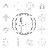 Religion Symbol, Unitarian, Universalism Outline Icon. Element Of Religion Symbol Illustration. Sign poster