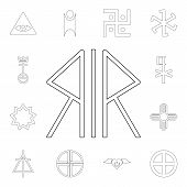 Religion Symbol, Nordic Paganism Outline Icon. Element Of Religion Symbol Illustration. Signs And Sy poster