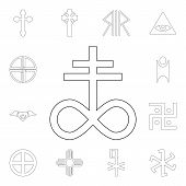 Religion Symbol, Satanic Church Outline Icon. Element Of Religion Symbol Illustration. Signs And Sym poster