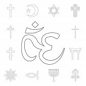 Religion Symbol, Om Outline Icon. Element Of Religion Symbol Illustration. Signs And Symbols Icon Ca poster