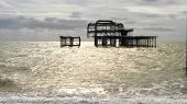 Morning Shot Of West Pier Ruins At Brighton Beach poster