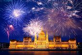 winter holiday destination Budapest fireworks over Hungarian parliament - New Year in the city poster