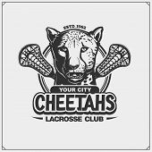 Lacrosse Club Emblem With Cheetah. Print Design For T-shirt. poster