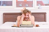 Daily Routine Of Writer. Man Writer Lay Bed With Breakfast Working. Writer Handsome Author Used Old  poster