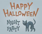 Sketch Black Feline Vector Illustration For Halloween Party. Drawing Graphic For Happy Halloween Evi poster