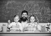 In Lab. Small Girls Holding Test Tubes In School Laboratory. Little Pupils And Teacher Doing Laborat poster