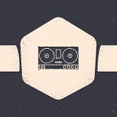 Grunge Dj Remote For Playing And Mixing Music Icon Isolated On Grey Background. Dj Mixer Complete Wi poster