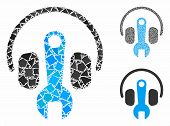 Headphones Tuning Wrench Composition Of Bumpy Items In Different Sizes And Color Tinges, Based On He poster