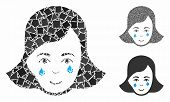 Crying Woman Face Composition Of Uneven Elements In Variable Sizes And Color Tinges, Based On Crying poster