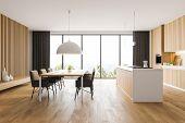 Panoramic White And Wood Kitchen Interior poster