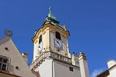 Top View Of Tower Of Old Town Hall Building In Bratislava Old Town, Slovakia. The Old Town Hall Is L poster
