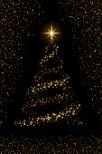 Christmas Tree On Black Background. Gold Christmas Tree As Symbol Of Happy New Year, Merry Christmas poster