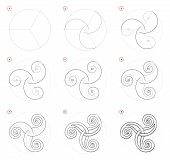How To Draw Step-wise Celtic Popular Symbol Triskel. Creation Step By Step Pencil Drawing. Education poster
