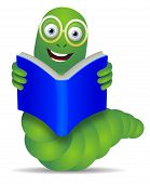 pic of bookworm  - Bookworm reading a blue book over a white background - JPG