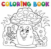 stock photo of face-fungus  - Coloring book mushroom theme 3  - JPG