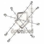 Locked metallic download icon with razor wire