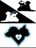 foto of bird-dog  - Dog and Cat Silhouette Design Elements with crosses - JPG