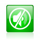 mute green square web icon on white background