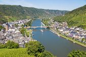 stock photo of moselle  - Aerial view at Cochem and river Moselle in Germany