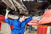 car mechanic tighten screw in make suspension adjustment with spanner during automobile wheel alignm