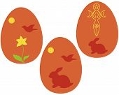 stock photo of wiccan  - Set of Wiccan Vernal equinox sabbath or Ostara eggs - JPG