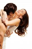 pic of brunete  - Happy couple with boyfriend hugging adult laughing woman - JPG