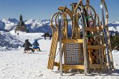 picture of toboggan  - Toboggans on a mountain top in Bavaria - JPG