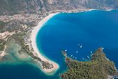 Oludeniz from the air, Fethiye, Turkey