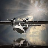 picture of hydroplanes  - Vintage seaplane over sea - JPG