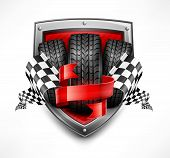 stock photo of car symbol  - Racing symbols on shield tires ribbon and flags vector illustration - JPG
