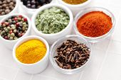 picture of spice  - various kinds of spices in bowls  - JPG
