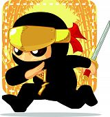 stock photo of ninja  - A vector image of a ninja holding japanese sword - JPG