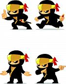 image of ninja  - A vector set of ninja in several poses - JPG