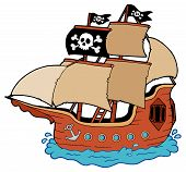 pic of pirate ship  - Pirate ship on white background  - JPG