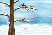stock photo of chickadee  - Chickadees celebrate Christmas on the tree - JPG