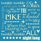 image of nursery rhyme  - Twinkle Twinkle Little Star Word Art Pastel Blue and Yellow Design - JPG